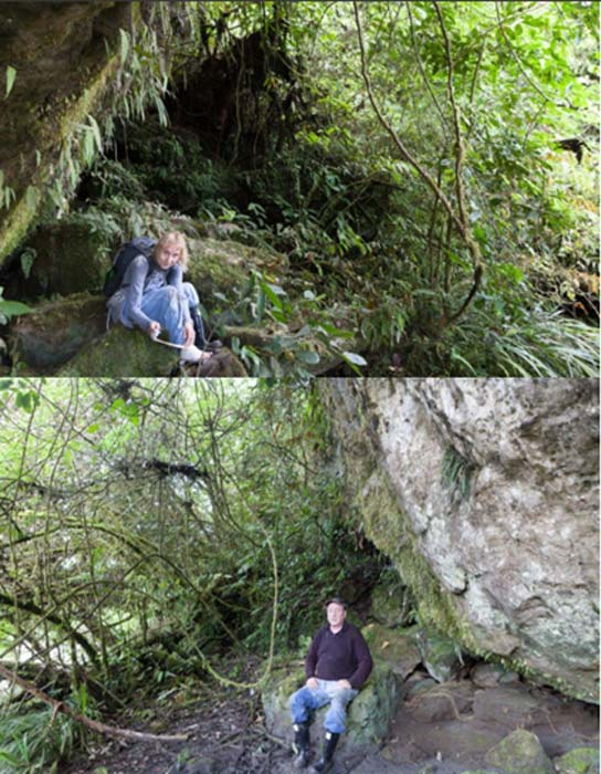 Wendy tending to a hurt foot and Scott taking a well-deserved break out of the caves.