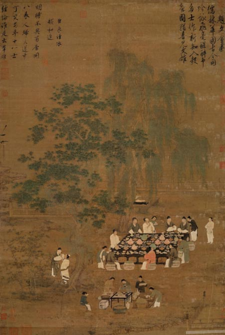 A Song dynasty painting of an outdoor banquet, possibly a remake of a Tang dynasty original.