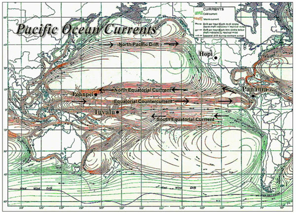 A map of the Pacific Ocean currents upon which they Hopi may have travelled