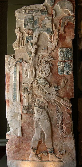 A painted stucco relief in the museum at Palenque showing King U Pakal K´inich