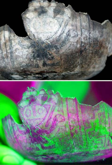Top: Gourd painted with a god figure. Bottom: color enhanced gourd painted with a god figure.