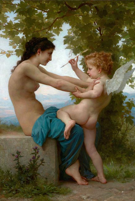 "The painting ""A Young Girl Defending Herself Against Eros,"" 1880, by William-Adolphe Bouguereau"