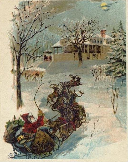 A painting of Santa and his reindeer-powered sleigh under a full moon from around 1870