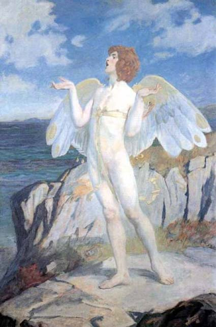 A painting of a Victorian era description of Áengus mac Óg, depicted here with swan wings.