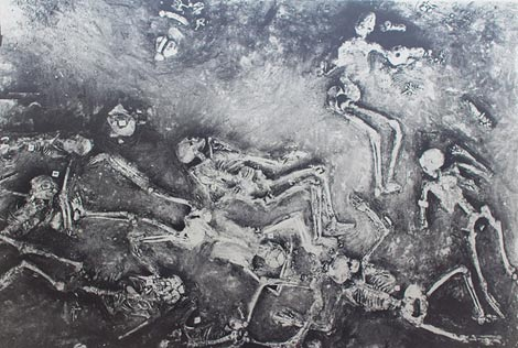 Painting of the skeletons found at Mohenjo Daro