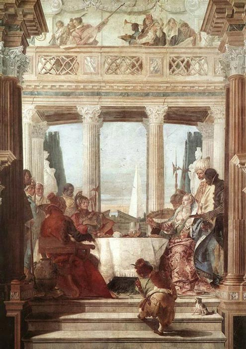 In this painting, The Banquet of Cleopatra, also by Giovanni Battista Tiepolo (1696–1770), Cleopatra's pearl is in her outstretched hand as she likely tells Mark Antony in regal Roman dress how she will win the bet. (Giovanni Battista Tiepolo / Public domain)