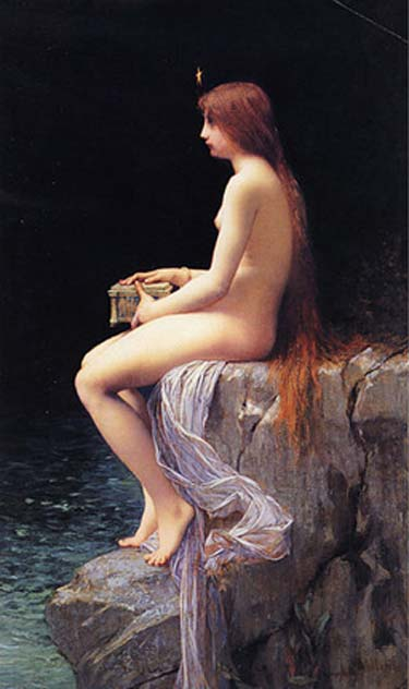 Pandora was a beauty to behold and when he saw her, Epimetheus forgot all the warnings about accepting a gift from Zeus. 'Pandora,' Jules Joseph Lefebvre.
