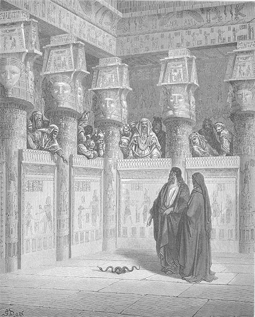 """Moses and Aaron appear before Pharaoh,"" Gustave Doré, 'Doré's English Bible,' 1866. (Public Domain)"