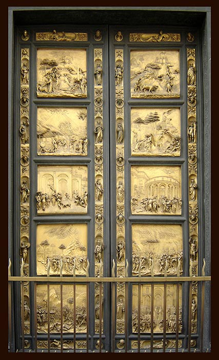 The panels of the elaborate door to the Baptistery in Florence by Lorenzo Ghiberti illustrate scenes from the Old Testament. One of the panels (left-hand-side, second from top) illustrates the life of Noah, in particular the period after the Great Flood when Noah returns to dry land with the help of God. Strangely, the Ark is depicted as a pyramid.