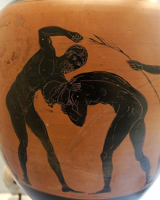 Two athletes competing in the pankration. Panathenaic amphora, made in Athens.