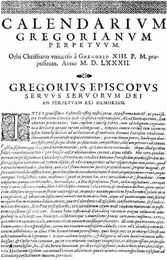 "The first page of the papal bull ""Inter Gravissimas"" by which Pope Gregory XIII introduced his calendar."