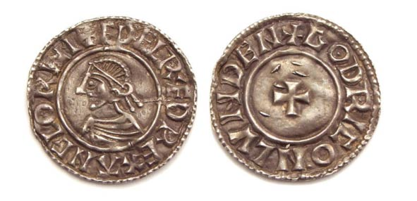 Small cross type penny with portrait of King Ethelred