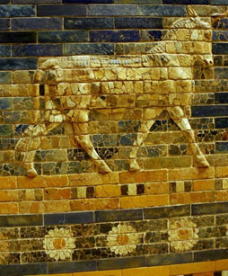Bas-relief on the Ishtar Gate at the Pergamon Museum in Berlin - three 16-petal chrysanthemums