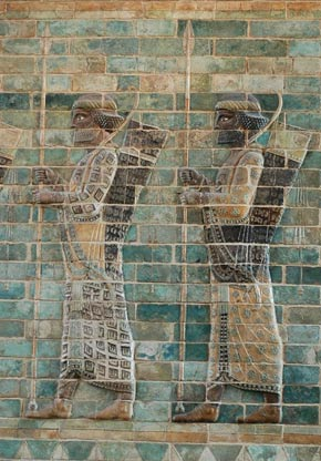 Persian infantry shown in a frieze in Darius's palace