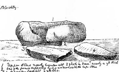 Perthi Duon sketched by the Reverend John Skinner