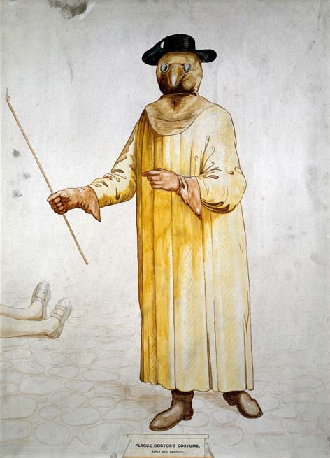 A physician wearing a seventeenth century plague preventive costume.