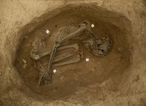 A pit burial in Çatalhöyük