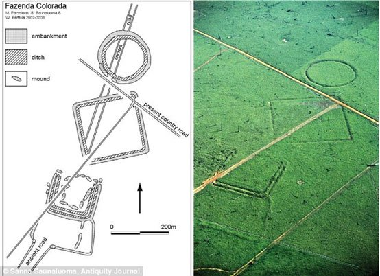 MYSTERIOUS MAN-MADE DITCHES THAT PREDATE AMAZON RAINFOREST Plan-of-earthworks-at-Fazenda-Colorada