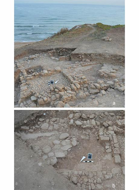 Structures at Tell el-Burak, area 3: a) plastered floor in room 1 of house 4, from the south-east; b) plastered floor in room 1 of house 4, from the north-west. (Courtesy of the Tell el-Burak Archaeological Project/Antiquity)
