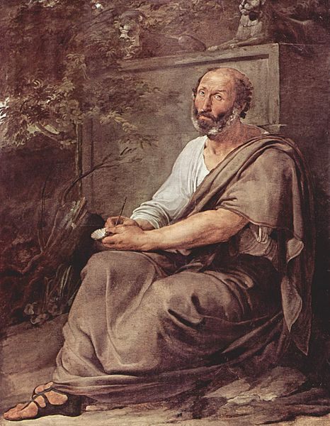 An artist's imagined portrait of Aristotle by Francesco Hayez.