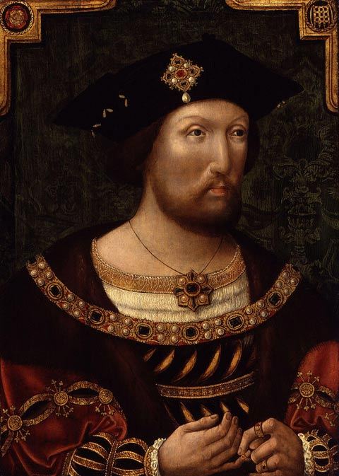 A portrait of Henry VIII before he became fat, sick, paranoid and melancholy; during this period he was married to Catherine of Aragon for 24 years.