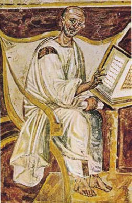 The earliest known portrait of Saint Augustine. Rome, Italy.