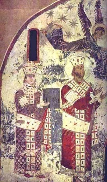 Tamar (left) and George III (right). The earliest surviving portrait of Tamar, from the church of the Dormition at Vardzia, c. 1184–1186.