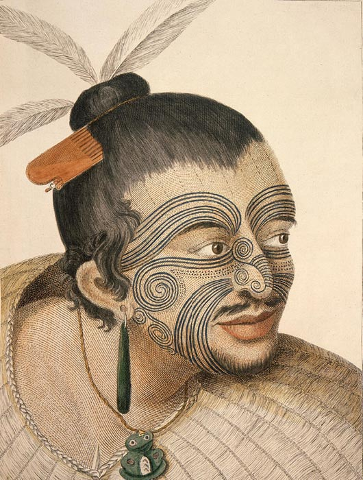 A portrait of a Maori chief by Sydney Parkinson, the artist on Captain Cook's 18th century voyages; the Maori inhabit New Zealand, which is not far from the Solomons.