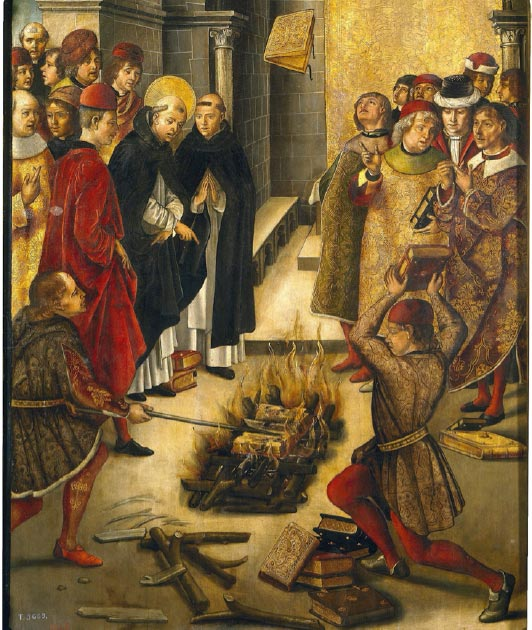 This portrays the story of a dispute between Saint Dominic and the Cathars in which the books of both were thrown on a fire and St. Dominic's books were miraculously preserved from the flames. This was believed to symbolize the wrongness of the Cathars' teachings. (Oursana / Public Domain)