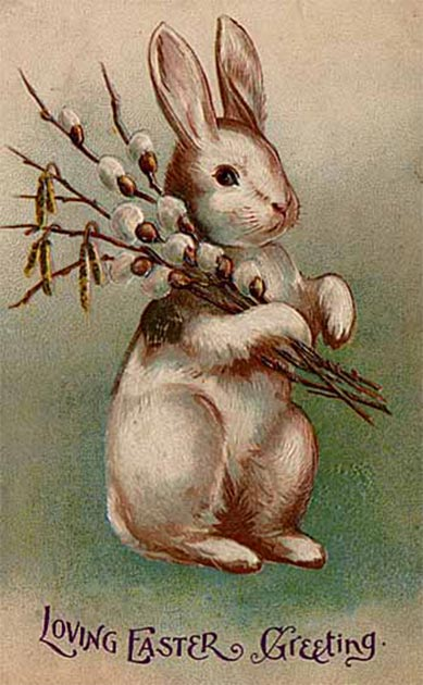 A 1907 postcard featuring the Easter Bunny, a representation of the replacement of the hare by the rabbit as a traditional Easter animal. (Ras67 / Public Domain)