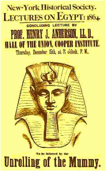 Poster advertising the 'unrolling' of a mummy