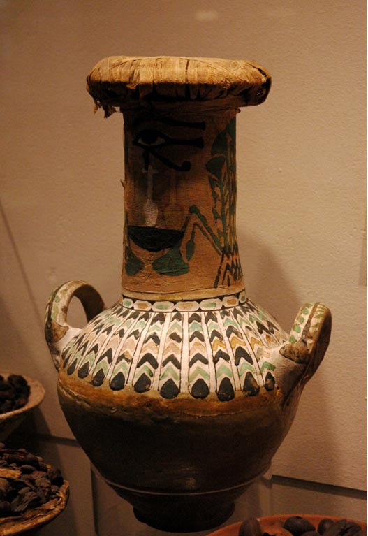 "A two-handled pottery vase from the tomb of Kha and Merit, now in the Egyptian Museum of Turin. The decoration on the vase reads ""all good and healthy things."""