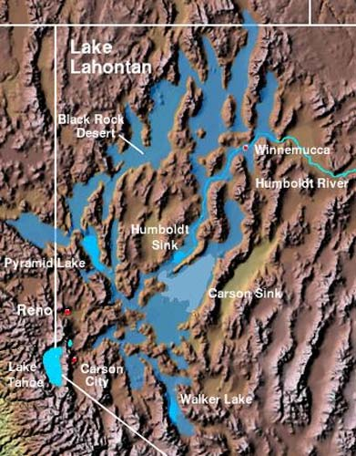 Extent of prehistoric Lake Lahontan