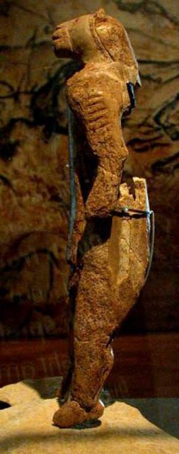 """Löwenmensch figurine, found in the Hohlenstein-Stadel cave of Germany's Swabian Alb and dated at 40,000 years old, is associated with the Aurignacian culture and is the oldest known anthropomorphic animal figurine in the world."""