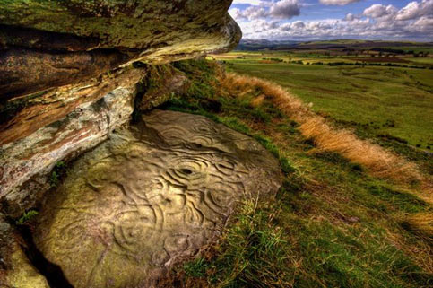 Prehistoric rock art sites at Ketley Crag