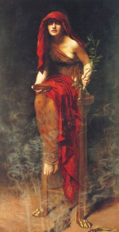 The priestess of the oracle at ancient Delphi, Greece.