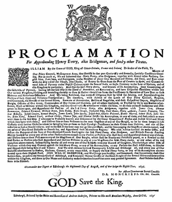 Royal proclamation for capturing Henry Every, known as Bridgeman, and other pirates. (Public domain)