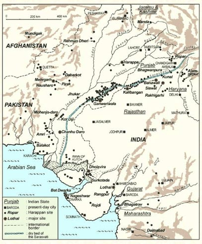 he proposed courses of the Sarawati River