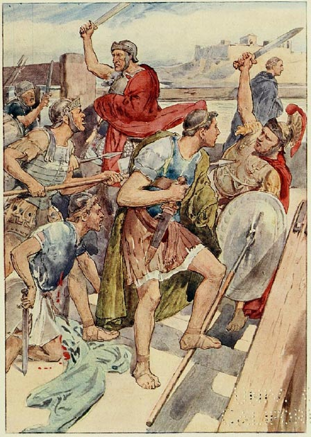The pursuit of Gaius Gracchus, Roman officers were ordered to detain him because he went to Rome to appeal the Senate's decision regarding supplies for the troops. (Baddu676 / Public Domain)