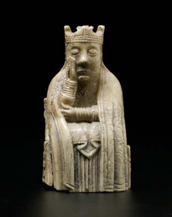 The queen from the Lewis chessmen set. Photo courtesy of National Museums Scotland.