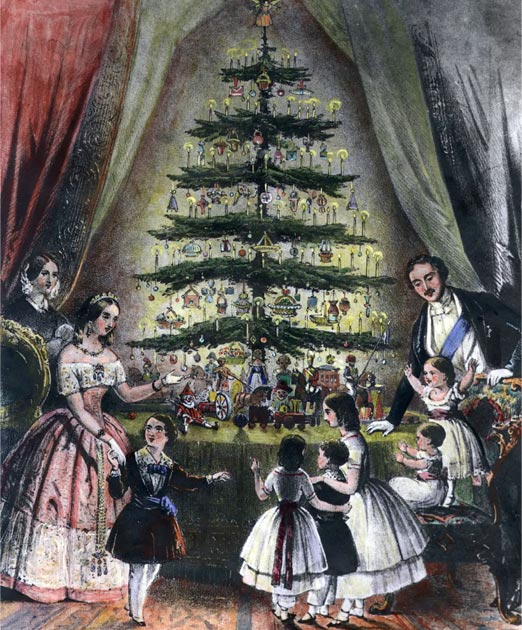 Queen Victoria, Prince Albert and their children admire the royal Christmas tree, December 1848. (Public Domain)
