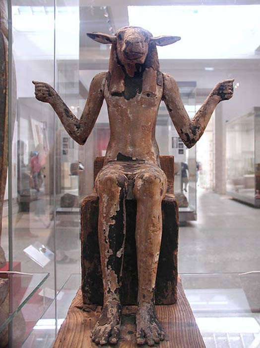 Ram-headed demon, hands outstretch probably to hold two snakes. From a royal tomb in the Valley of the Kings, Thebes, Egypt. (1325 BC).British Museum (Public Domain)