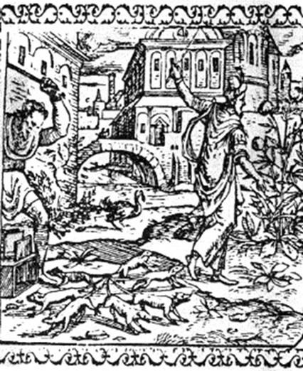 Rat King, Woodcut emblem, i.a. from J. Sambucus, Emblemata (i.a. 4th ed., Antwerp, 1576)