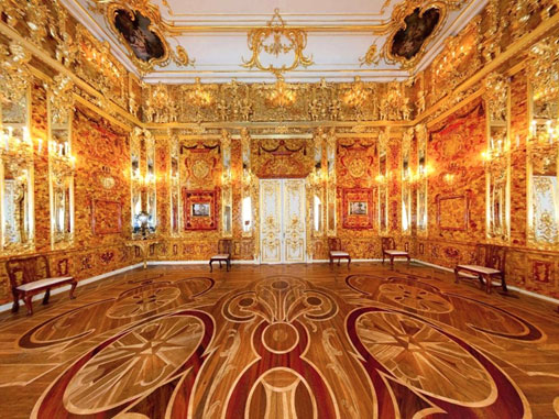 The reconstructed Amber Room in Catherine Palace