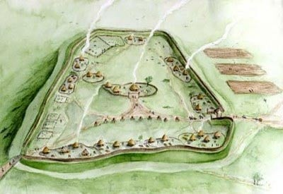 Reconstruction of the Burrough hillfort