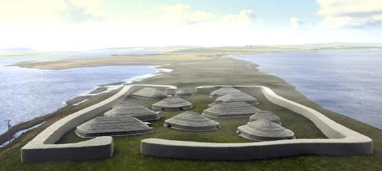 Reconstruction of the Ness of Brodgar Neolithic site