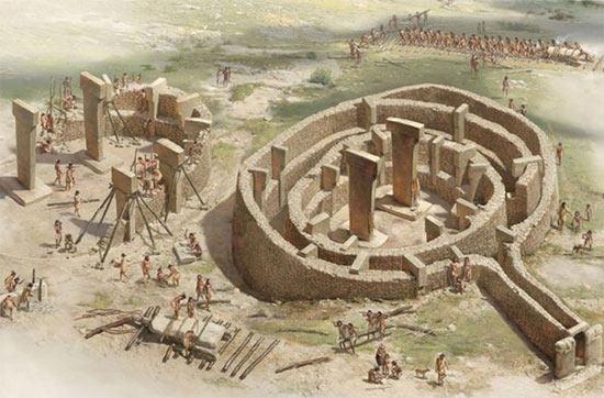 An artist's reconstruction of Gobekli Tepe