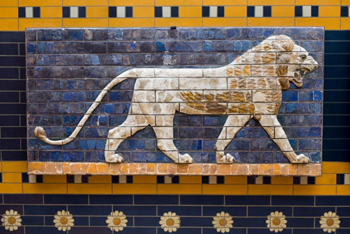 Sculptural relief of a lion along the Processional Way - Ishtar
