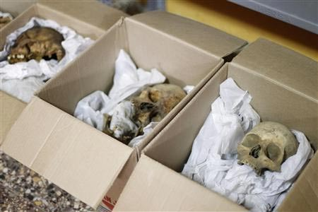 The remains of some of the sacrifice victims found at El Castillo de Huarmey