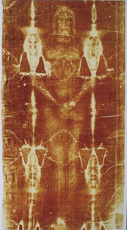The renowned Shroud of Turin, religious relic and mysterious artifact.
